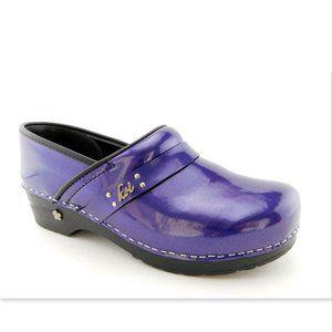 SANITA KOI Purple Patent Flower Clogs Shoes 42
